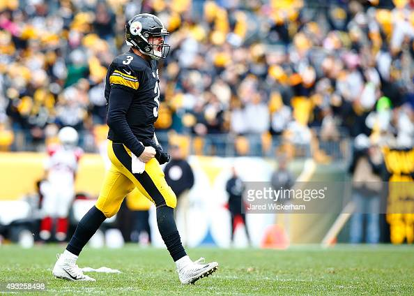 Landry Jones of the Pittsburgh Steelers reacts after completing an 8yard touchdown pass to Martavis Bryant during the 3rd quarter of the game agaisnt...