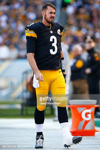 Landry Jones of the Pittsburgh Steelers returns to the sidelines after being injured in the 1st half of the game against the Cleveland Browns at...