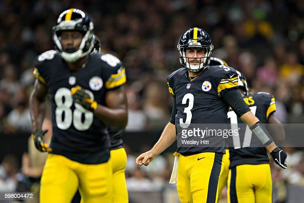 Landry Jones of the Pittsburgh Steelers signals to the sidelines during a preseason game against the New Orleans Saints at MercedesBenz Superdome on...