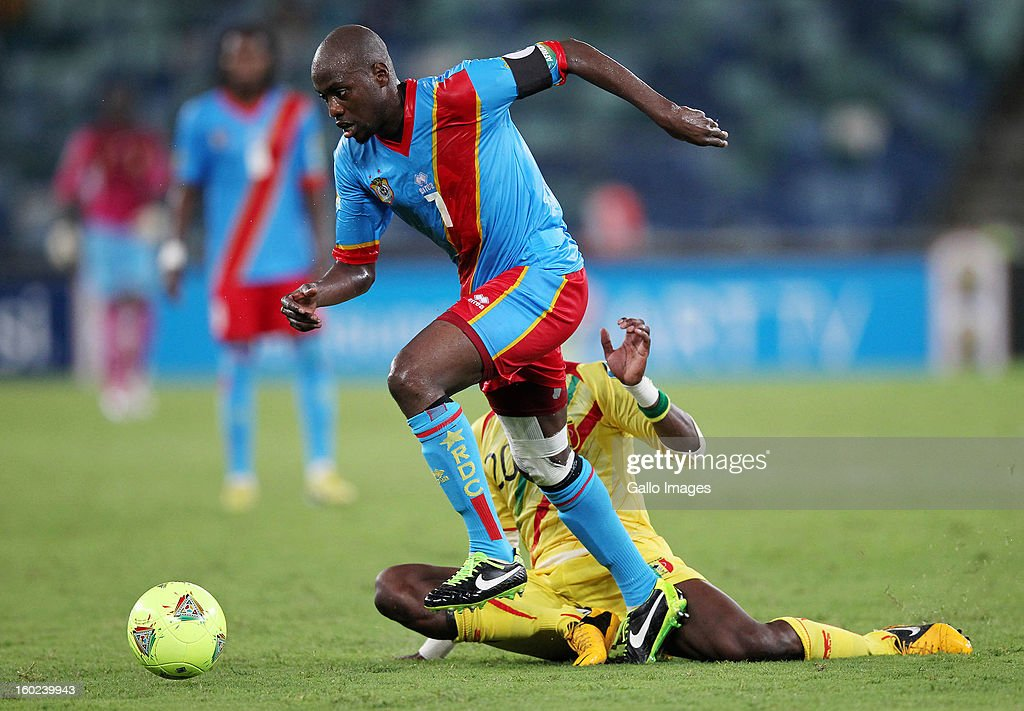 AFRICA - JANUARY 28, Landry Mulemo of DR Congo and Samba Diakite of Mali during the 2013 Orange African Cup of Nations match between DR Congo and Mali from Moses Mabhida Stadium on January 28, 2013 in Durban, South Africa.