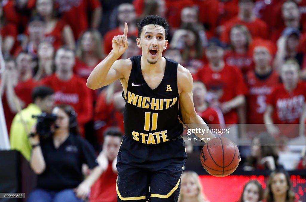 Landry Shamet #11 of the Witchita State Shockers dribbles the ball during the 76-72 win over the Cincinnati Bearcats at BB&T Arena on February 18, 2018 in Highland Heights, Kentucky.