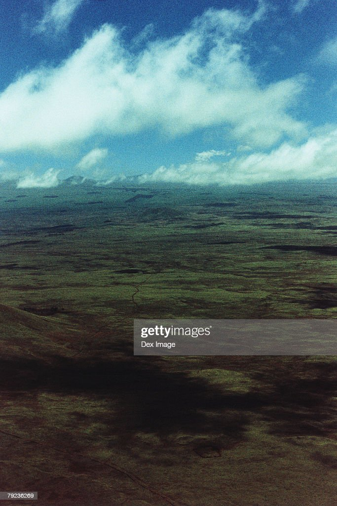 Lands and fields, Big Island, Hawaii, aerial view : Stock Photo
