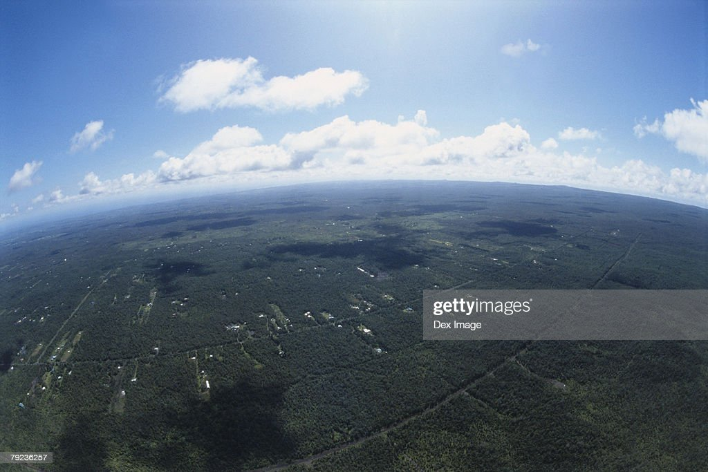 Lands and fields, Big Island, Hawaii, fisheye view : Stock Photo