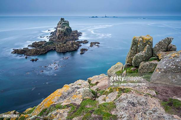 Lands End and Wolf Rock Lighthouse, Cornwall, UK