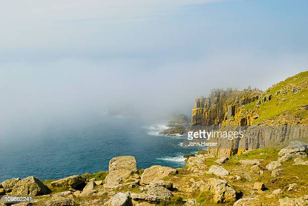 Land's End covered in fog, Cornwall