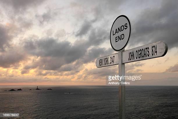 Lands End sign and Longships lighthouse