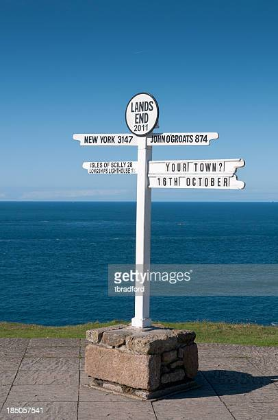 Lands End Signpost In Cornwall, England