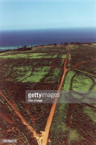 Lands, fields and tracks, Kauai, Hawaii, aerial view : Stock Photo