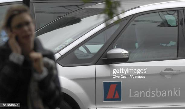 A Landsbanki sign on the side of a car outside the Icelandic bank's London offices at Beaufort House in London