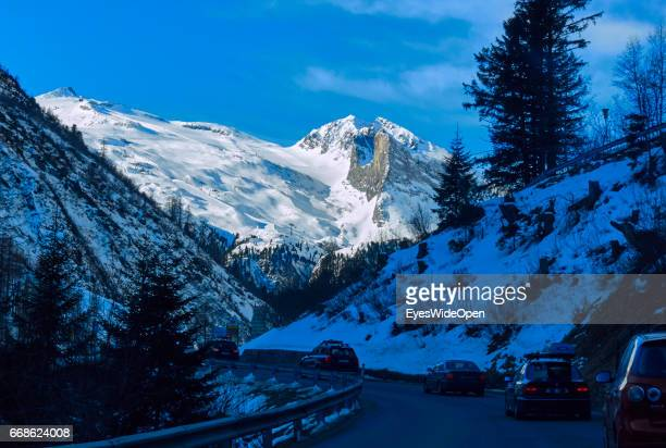 Landscape and panoramic view and cars on the way to the glacier of Hintertux on March 12 2017 in Hintertux Austria