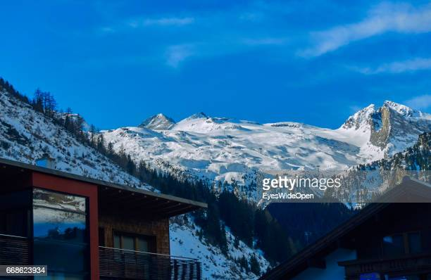 Landscape and panoramic view with a hotel appartement on the glacier of Hintertux on March 12 2017 in Hintertux Austria
