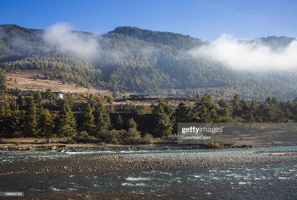 Landscape and panoramic view with a river on November 18, 2012 in Bumthang, Bhutan.