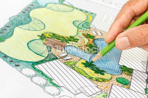 arquitecto paisajista de diseño de jardín de la villa foto de