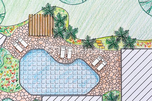 Landscape architect design backyard plan for villa stock for Landscape villa design
