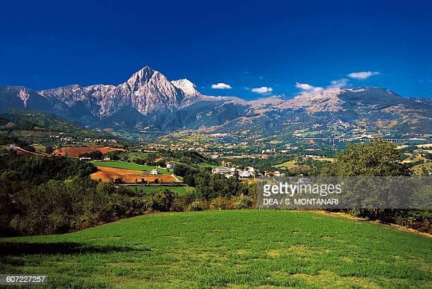 Landscape around Castelli with Gran Sasso d'Italia mountain in the background Gran Sasso and Monti della Laga National Park Abruzzo Italy