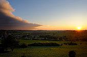 Landscape at sunset, Upper Palatinate, Bavaria, Germany