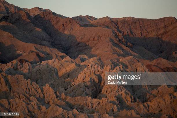 A landscape contorted by the San Andreas Fault is seen in the Mecca Hills on June 17 2017 near Mecca California An earthquake early warning system...