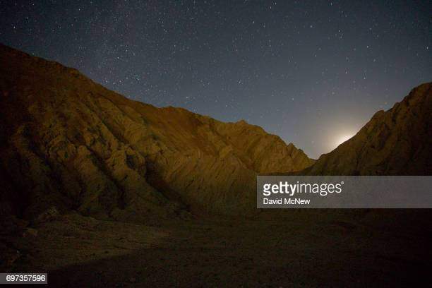 A landscape contorted by the San Andreas Fault is seen in the predawn hours in the Mecca Hills on June 18 2017 near Mecca California An earthquake...