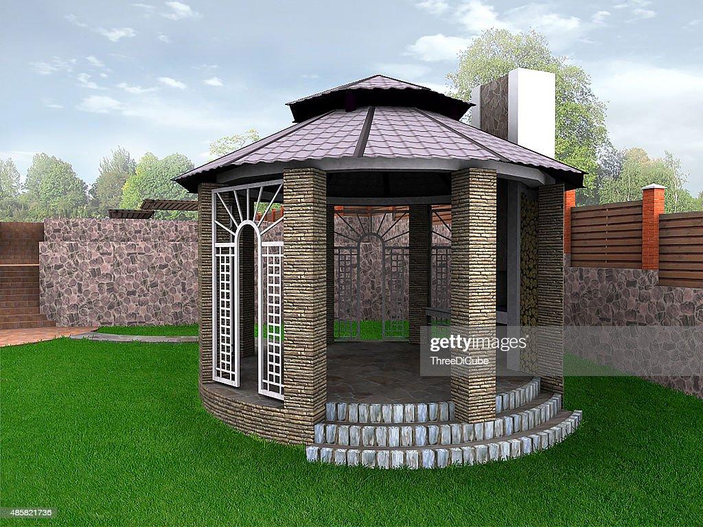 Landscape Design Garden Alcove, 3D Render : Stock Photo
