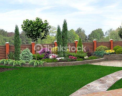 Paesaggio design giardino letto render 3d foto stock for Rendering giardino
