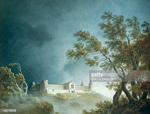 Landscape during a storm with a castle with four towers in the background by Giovanni Battista de Gubernatis watercolor on paper Turin Galleria...