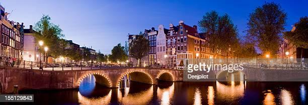 photo paysage de soirée des ponts et les canaux d'Amsterdam