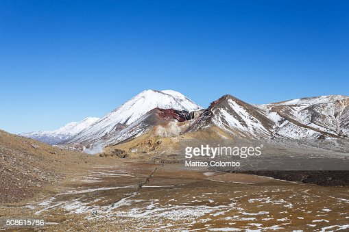 Landscape: famous volcano and desolate valley, Tongariro, New Zealand : Stock Photo