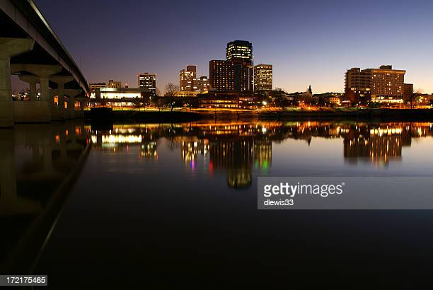 Landscape image of Midsize City skyline in the evening
