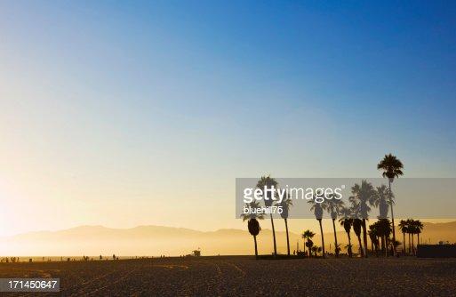 Landscape image of Venice Beach, California at sunset