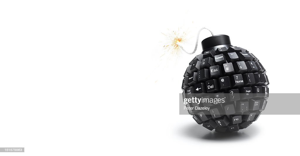 Landscape lit computer bomb with copy space : Stock Photo