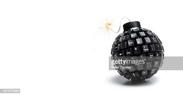 Landscape lit computer bomb with copy space