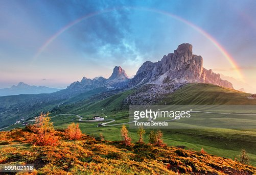 Landscape nature mountan in Alps with rainbow : Stock Photo