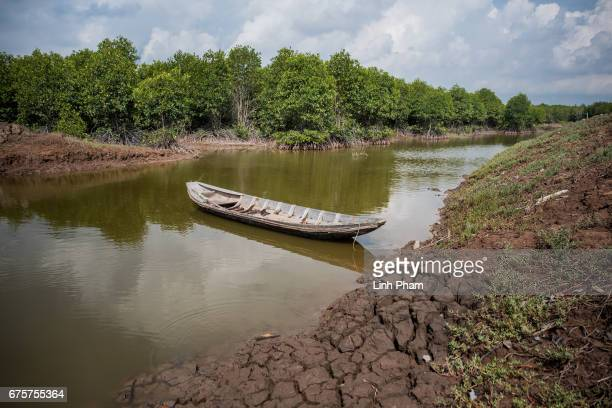 Landscape of a briny water cananl on April 29 2017 in Bao Thuan Village Ba Tri District Ben Tre Province Vietnam The Mekong River Delta is amongst...