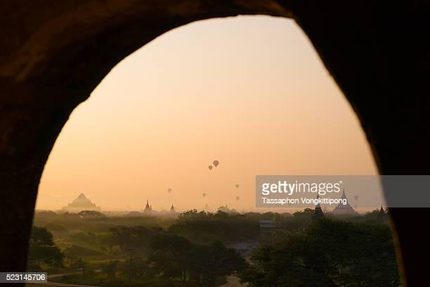 landscape of Bagan pagoda field arc window