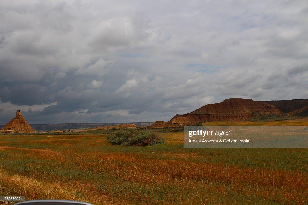 Landscape of Bardenas Reales and Castildetierra natural monument in Navarre, Spain