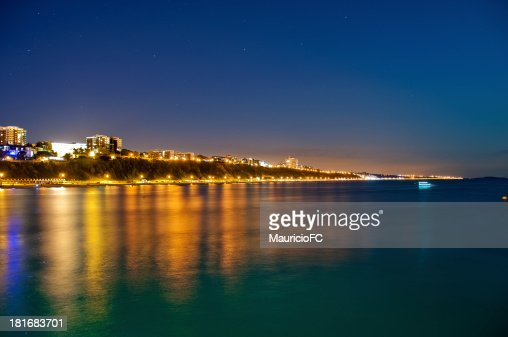 Landscape of Bournemouth Beach lit up at night : Stock Photo