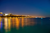 Night photograph of East Bournemouth beaches taken from Bournemouth Pier.