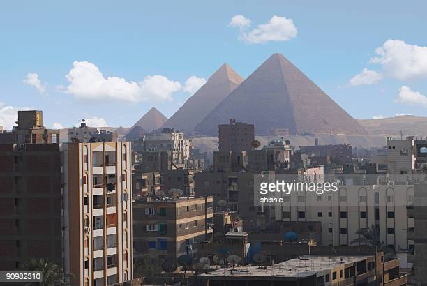 Landscape of Cairo, Egypt with the Giza pyramids behind