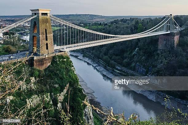 Landscape of Clifton suspension bridge over river Avon, Bristol, UK