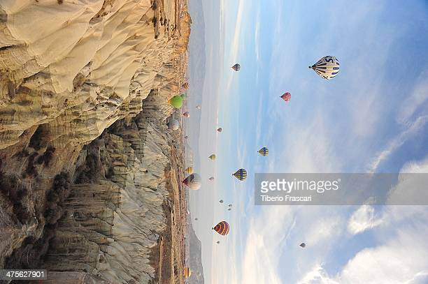 CONTENT] Landscape of Goreme Valley with a lot of balloons