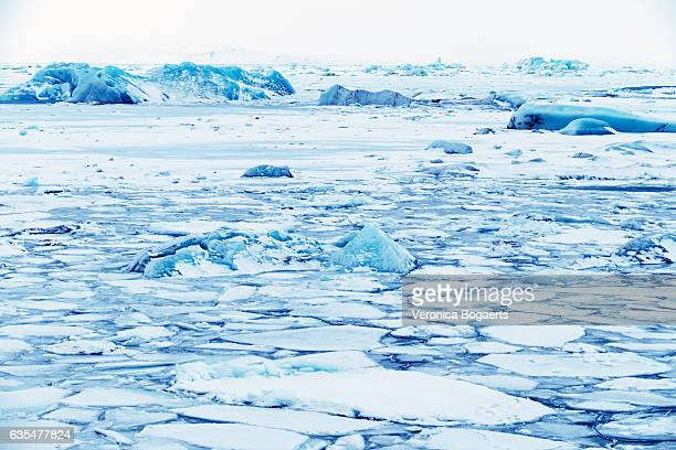 Landscape of ice:Frozen Jokulsarlon glacial lagoon in winter, Iceland