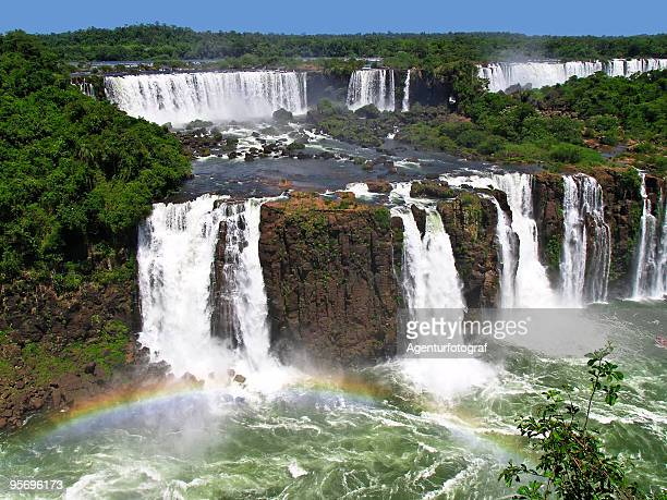 Landscape of Iguacu Falls with a rainbow