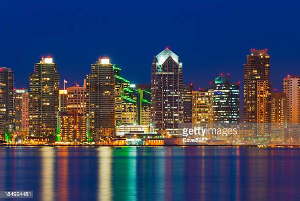 Landscape of Illuminated San Diego skyline