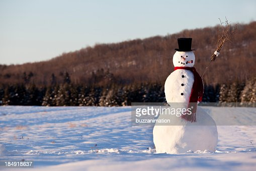 Landscape of line snowman in the morning