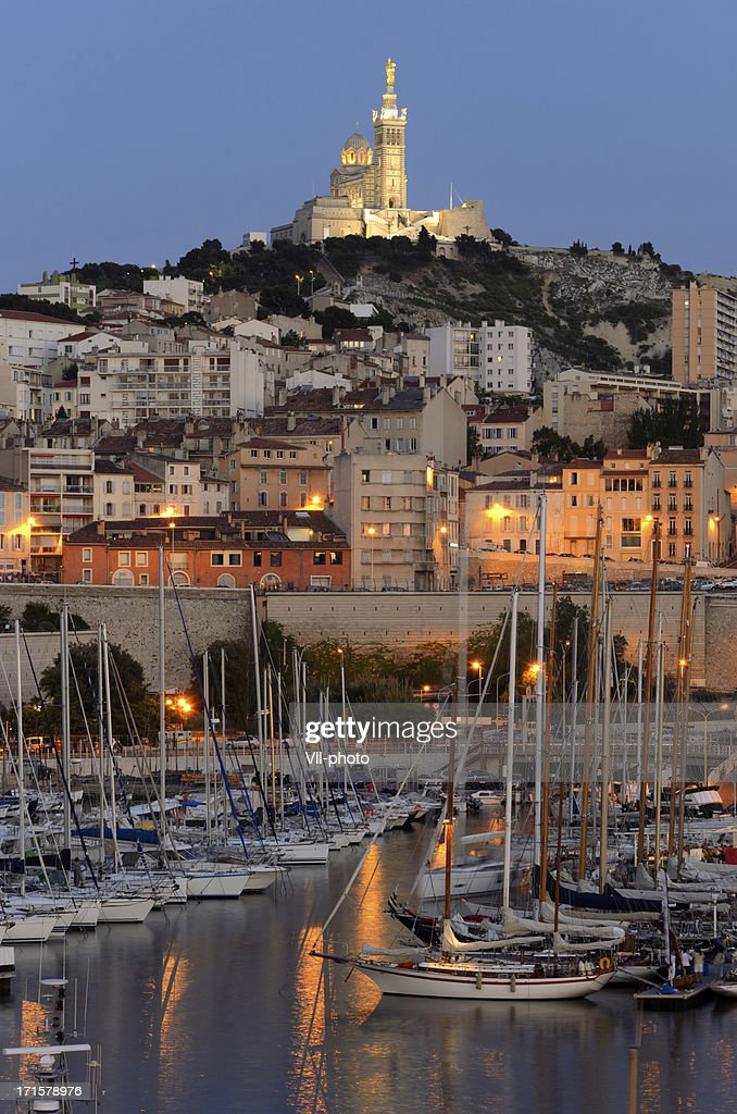 Landscape of Marseille harbor at night