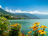 Landscape of Montreux city in Switzerland, view from embankment, summer time, sunny morning