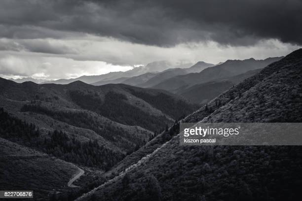 landscape of mountain in Sichuan ( China ) black and white
