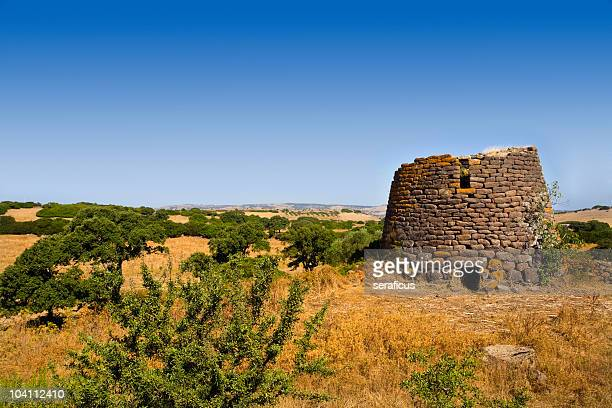 Landscape of Nuraghe Ruggiu on a sunny day