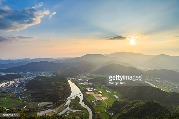 Landscape of Pyeongchang county while sunset