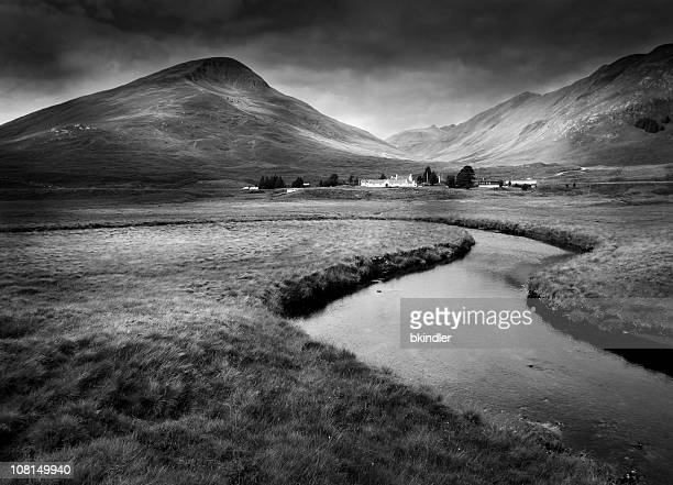 Landscape of Scottish Highlands, Black and White